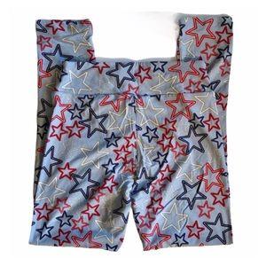 LULAROE Patriotic Red Blue Star Leggings NWT